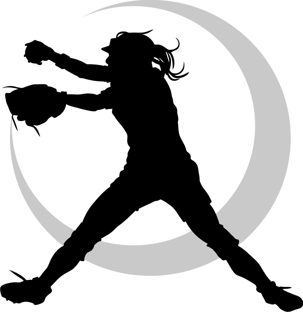 Softball fast pitch silhouette