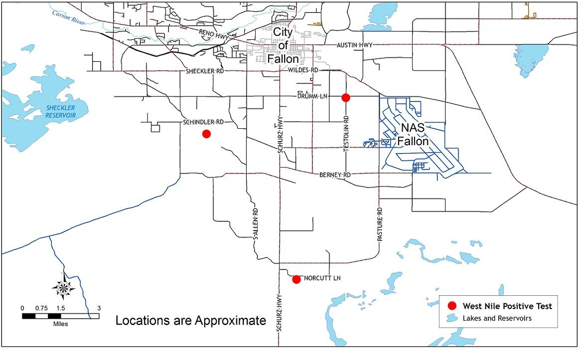 West Nile virus location map