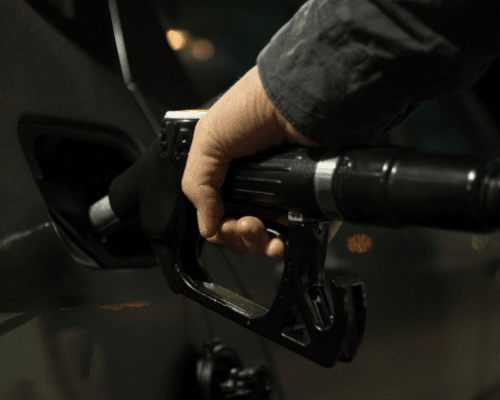 Filling a gas tank at the pump
