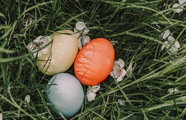 Three Easter eggs nestled together in grass