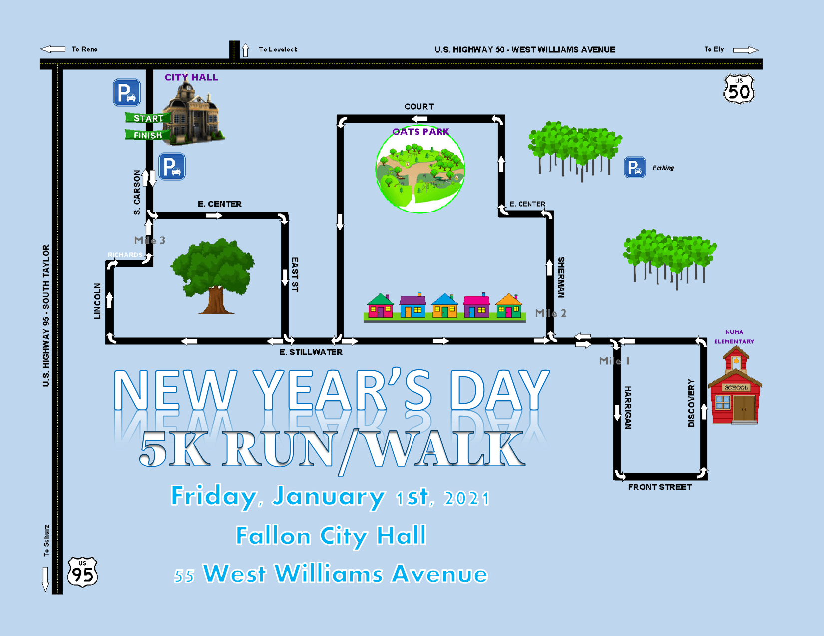 New Year's 5K Run/Walk Course Map - shows route for New Year's 5K Race on Wednesday, January 1